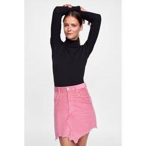 Zara Pink Corduroy Mini Skirt w/ Frayed Hem